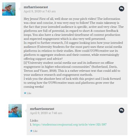 Jenna Fairweather pitch comment